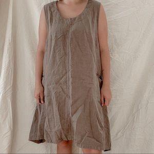 VIVID   Light Brown 100% Linen Sleeveless Dress Sz L